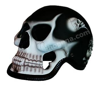 Negro Reaper calavera motocicleta casco – Novelty 3d esqueleto Custom Airbrushed Look casco