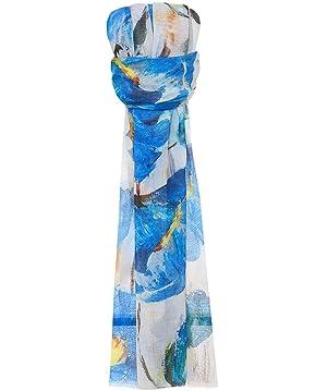 SK Overseas Women's Floral Print Scarf Blue