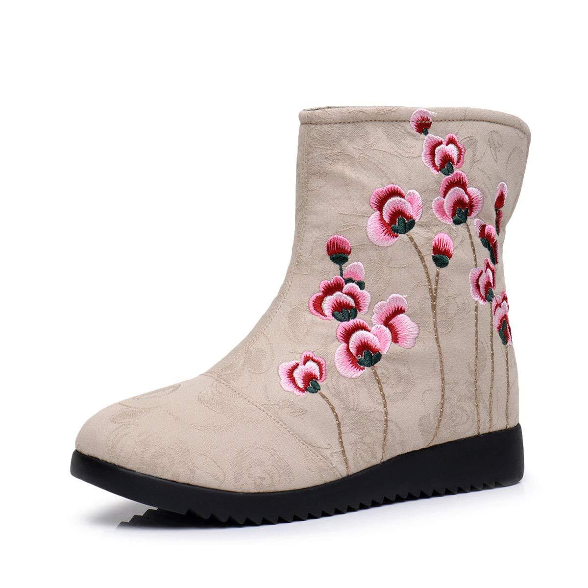 YAN damen Stickerei Schuhe Casual Damen Büroarbeit Strap Flats Schuhe Herbst Winter Schuhe Folk-benutzerdefinierte Rutschfeste Besteickte Schuhe