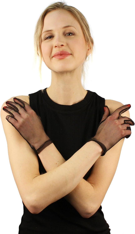 Elegant 1930s Sheer Transparent Stretch Wrist Length Dressy Evening Gloves