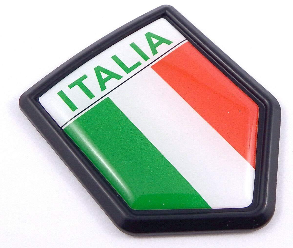 Italia Italian Flag Black Shield Car Bike Decal Crest Emblem Italy 3D Sticker