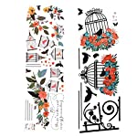 CHICTRY-Colorful-Flowers-Wreath-Birdcages-with-Flying-Birds-Wall-Stickers-Removable-Wall-Decal-Vinyl-Art-Sticker-for-Home-Bedroom-Living-Room-Nursery-Decoration