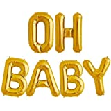 Tellpet OH BABY Letter Balloons, Baby Shower Party Decorations Decor Supplies, Gold, 16 Inch