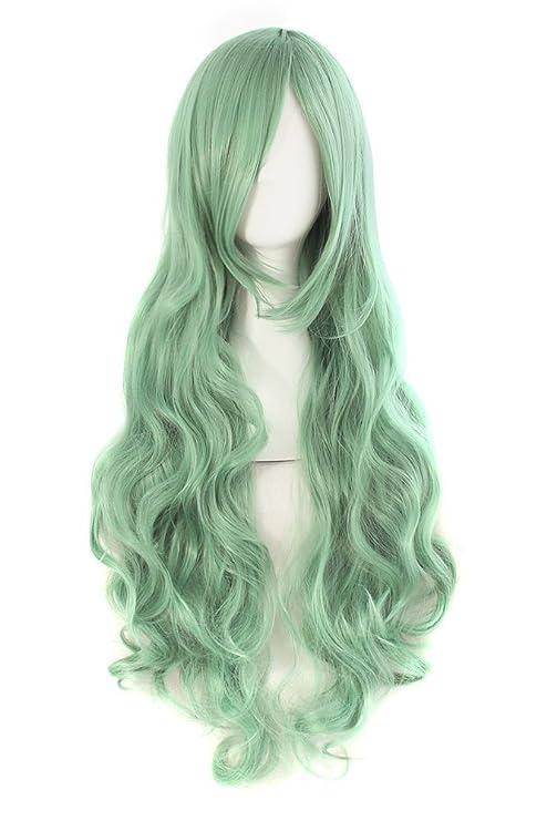 MapofBeauty 80cm/32 pulgada largo rizo seorita rizo anime traje Pelucas (verde gris verde