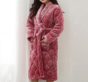 TALLA Medium. YIWANGO Pijamas De Algodón Otoño E Invierno Espeso Camisón Mujeres Albornoz Cálido,Red-XL
