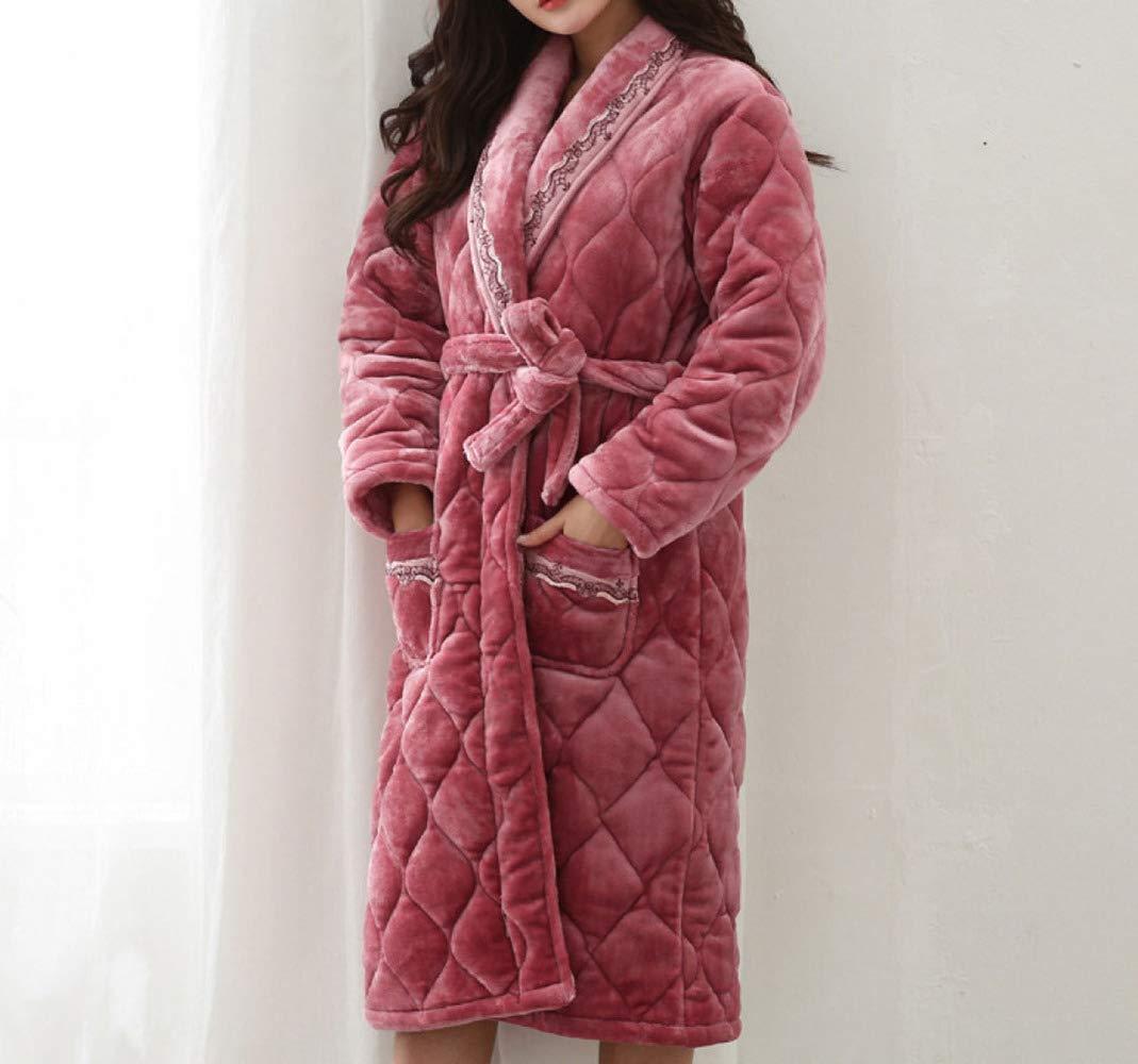 YIWANGO Pijamas De Algodón Otoño E Invierno Espeso Camisón Mujeres Albornoz Cálido,Red-XL