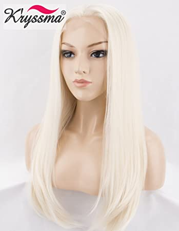 Amazon.com   K ryssma Platinum Blonde Synthetic Lace Front Wigs for ... b0a2817add7f