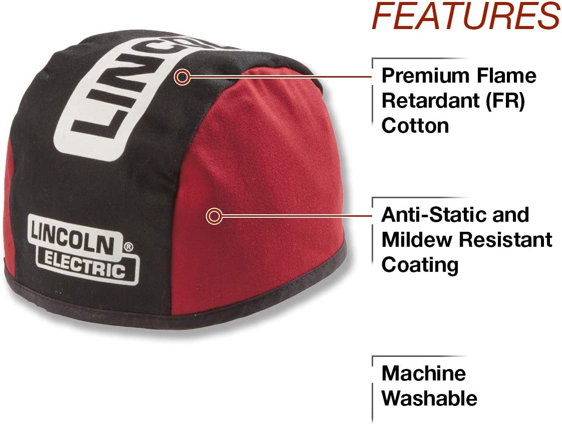 Lincoln Electric K2993 Flame Retardant Doo Rag Black//Red