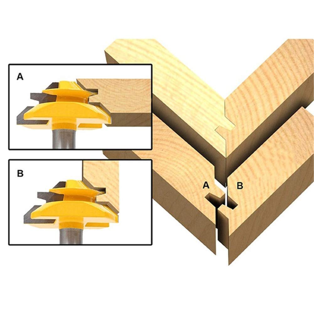 fresa de junta profesional para carpinter/ía WSOOX Fresa de inglete de 45 grados con v/ástago de 1//4 de pulgada