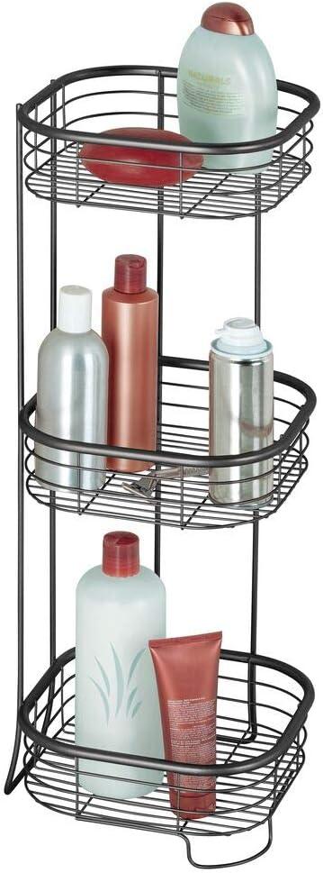 mDesign Estantería de baño – Mueble esquinero para la ducha de acero inoxidable con 3 baldas – Estante de baño para lociones, toallas de mano, jabón, ...
