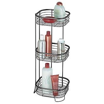 mDesign Estantería de baño – Mueble esquinero para la ducha de acero inoxidable con 3 baldas