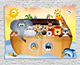 Religious Tapestry, Cute Animals on the Ark in the Sea Mythical Tales Lion Narrative Cartoon Print, Wall Hanging for Bedroom Living Room Dorm, 80 W X 60 L Inches, Multicolor