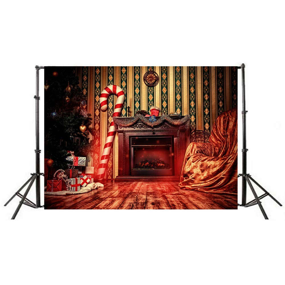 ADESHOP DIY Christmas Decorations, Xmas Decorations, 35x59inch Christmas Backdrops Vinyl 5x3FT Fireplace Background Photography Studio