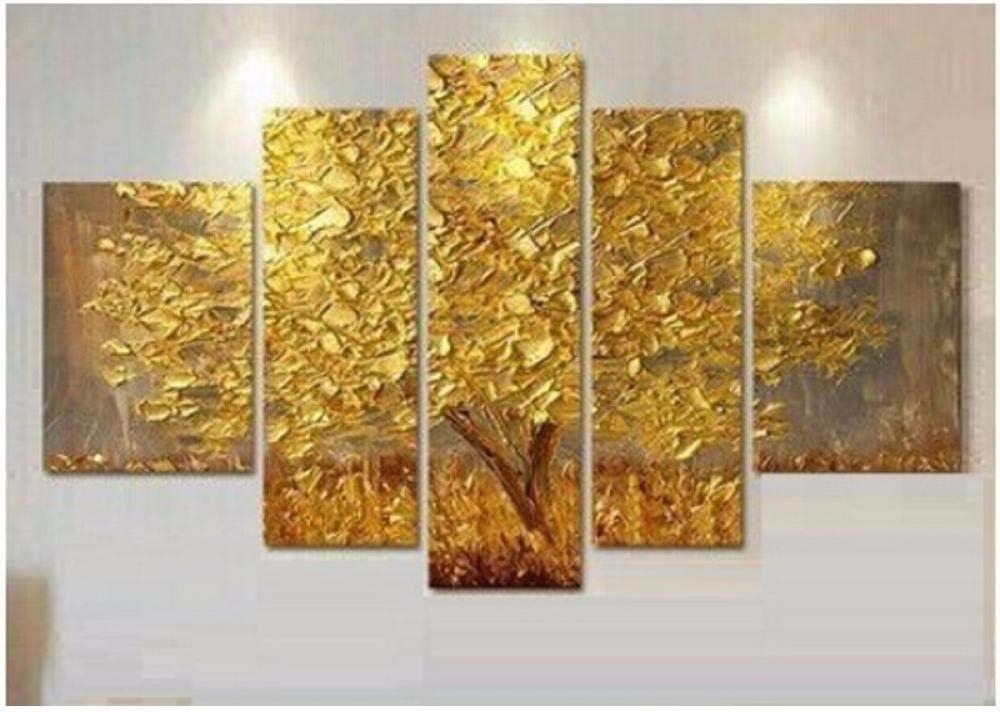 SHHSGZ Pinturas artísticas Cuadro Lienzo Imagen Lona Haciendo un Nuevo árbol Vida Amarillo Dorado el Pintura al óleo Abstracta 5 Panel Artista pared-150x80cm(59x31.5inch)