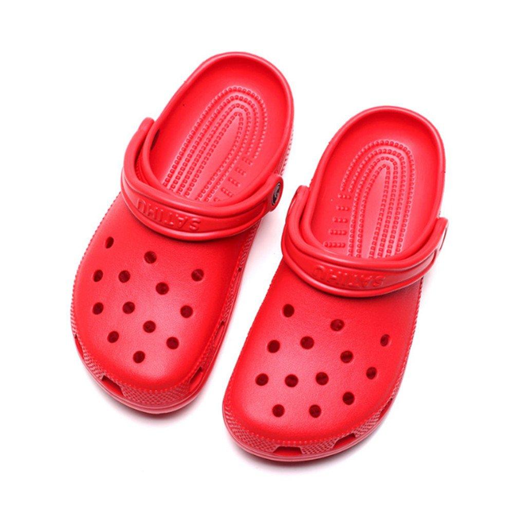 Swallowuk Unisex Hausschuhe Atmungsaktiv Strand Aquaschuhe Hollow Out Slippers Sandalen Sommer Latschen Watschuhe Outdoor Innen Hausschuh Für Herren Damen (39, Rot)  39 Rot