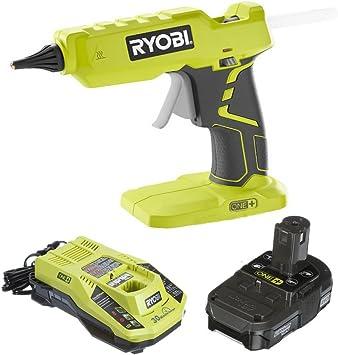 Ryobi Glue Gun P305 with Charger & Lithium-ion battery P128 (Renewed)