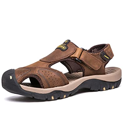 fd4ca28091a9 VILOCY Mens Summer Sports Sandals Leather Closed-Toe Outdoor Sandals  Trekking Shoes Light Brown UK6