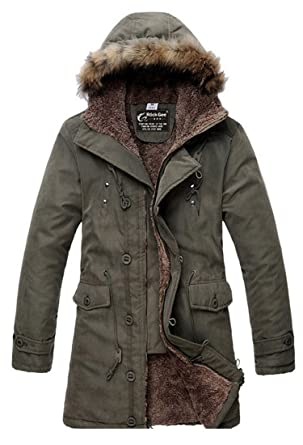 Easy Men's Winter Casual Hooded Coat Warm Fur collar Slim Trench ...