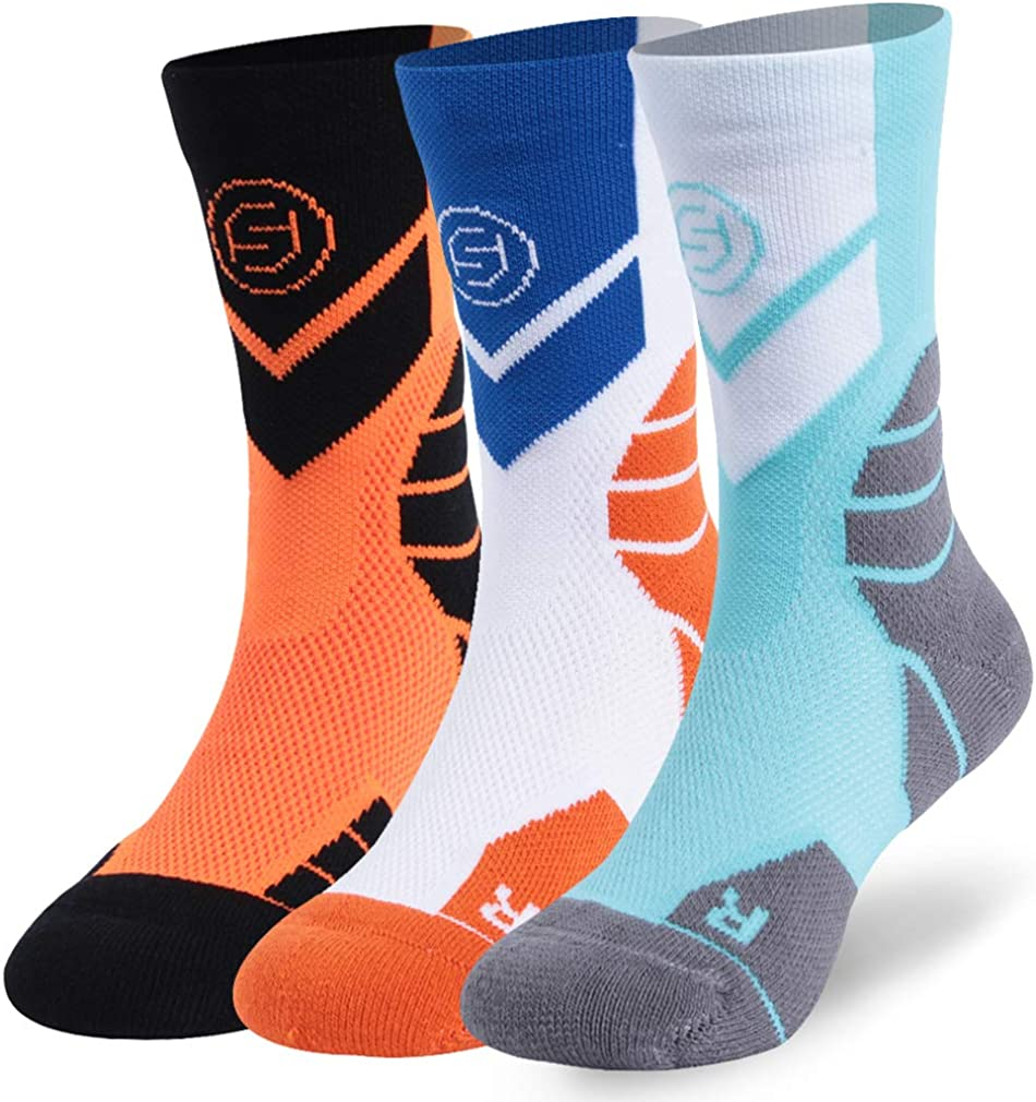 Cycling Socks for Boys Girls, Forcool Cushioned Spring Running Walking Sports Crew Socks, 1/3 Pairs: Clothing
