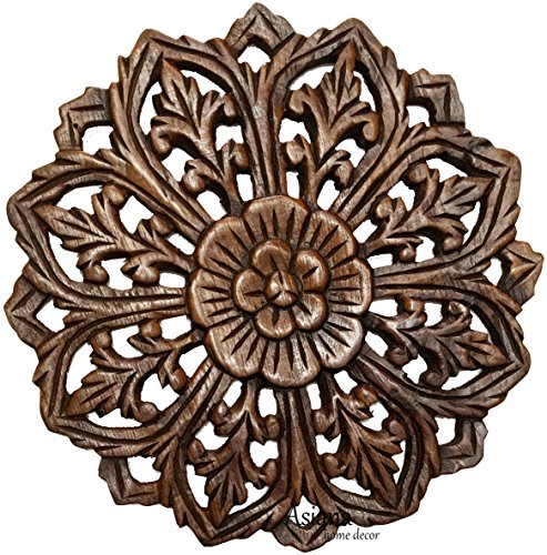 (Asiana Home Decor Wall Art- Oriental Carved Lotus Round Wood Plaque in Brown Finish Size 12