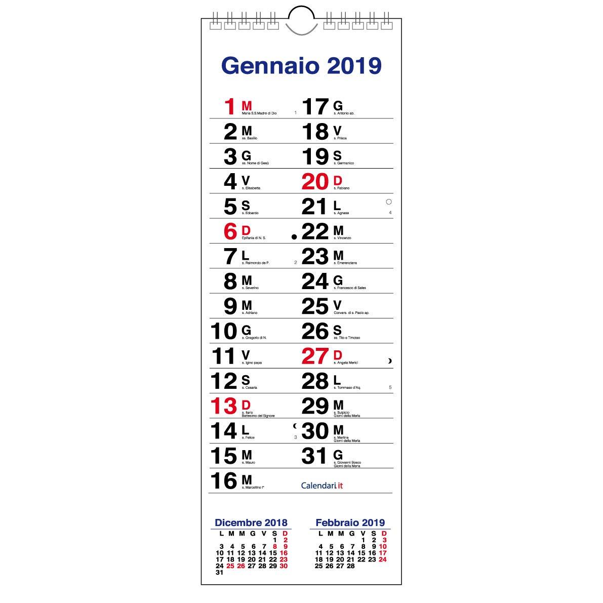 Calendario 2019 OLANDESE SLIM da muro 3 mesi per scrivere appunti 15x42 cm