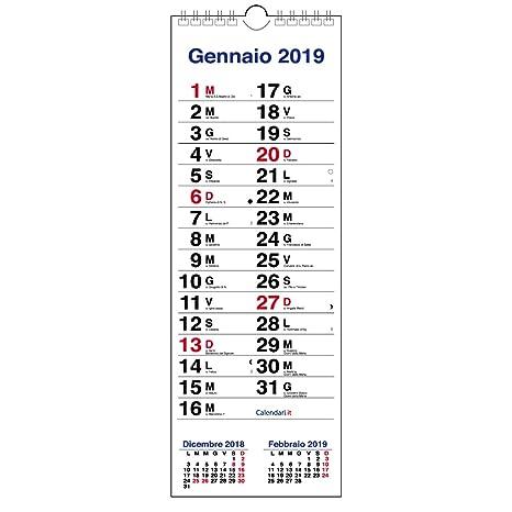 Calendario Appunti Da Stampare.Calendario 2019 Olandese Slim Da Muro 3 Mesi Per Scrivere Appunti 15x42 Cm