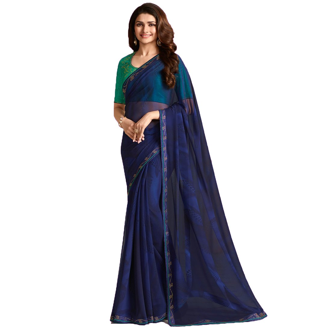 Nevy bluee Dilse Fashion Designer Partywear Saree for Women's with Unstitched Blouse