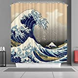 YSZQ The Great Wave Off Kanagawa Pattern Customize Waterproof Polyester Fabric Bathroom Shower Curtain 6072 Inch