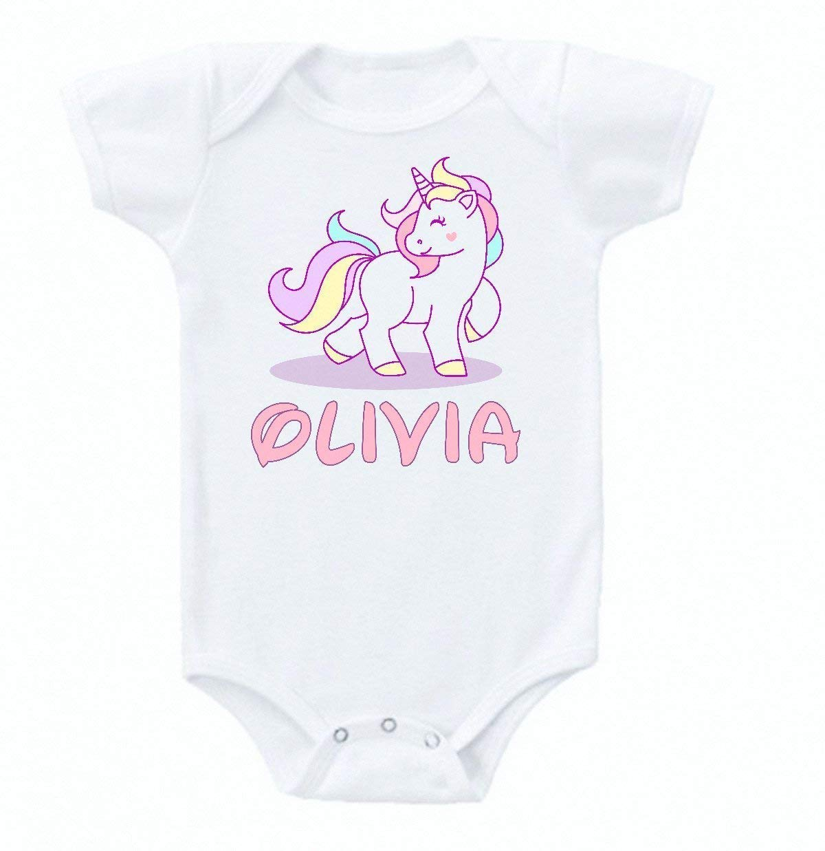 Unicorn Cloud Pink Baby Onesie Bodysuit Short Sleeve Cute Personalized Custom Name 0 to 3 mos or 3 to 6 months or 6 to 12 months for Girls Design 3