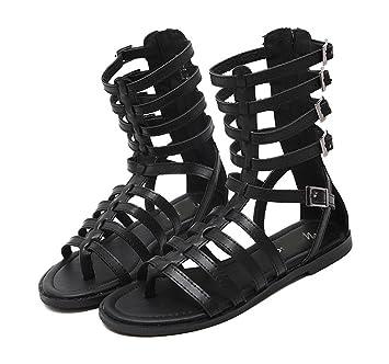 WZG La nouvelle chaussures tong mince bande Xia Jiping bas sandales romaines bottes fraîches de cylindre creux dans la nature , brown , 35