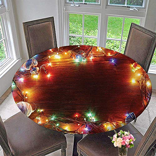 (Mikihome Premium Tablecloth Fairy Lights on Wooden Rustic Pine with Xmas Ornaments Everyday Use 40
