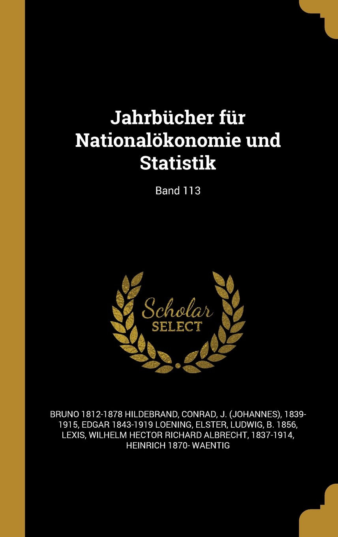 Jahrbucher Fur Nationalokonomie Und Statistik; Band 113 (German Edition) pdf epub