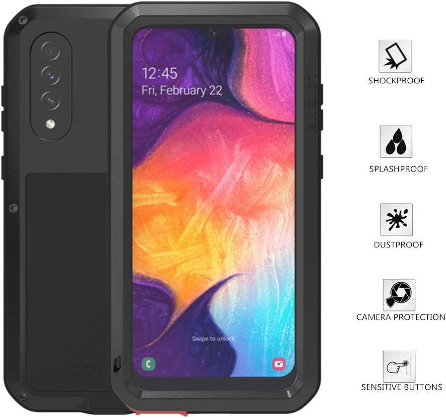 Samsung Galaxy A50 Case, Love Mei Aluminum Metal Gorilla Glass Waterproof Shockproof Military Heavy Duty Sturdy Protector Cover Hard Case for Samsung Galaxy A50 (Black, A50)