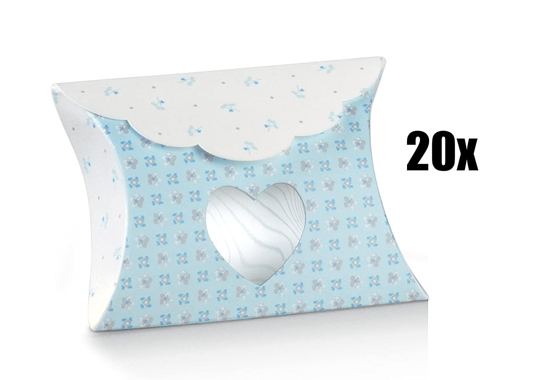 20unidades caja portaconfetti sobre con ventana corazón Celeste Serie Bloom BOMBONIERA
