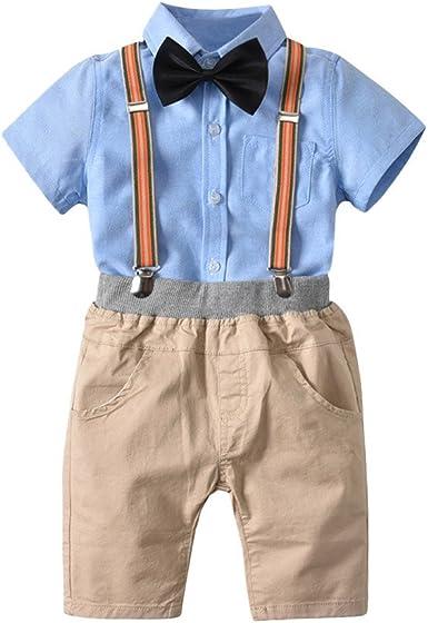 2PCS Little Baby Boys Summer Gentleman Bowtie Short Sleeve Shirt+Overall Suspender Shorts Sets