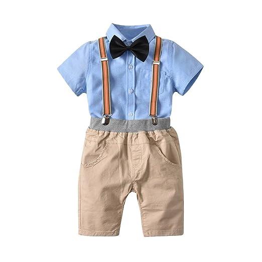 300a630682de Toddler Boys Gentleman Suit Summer Bowtie Shirt + Ovrall Set Kids Boy  Suspender Clothes Sets (