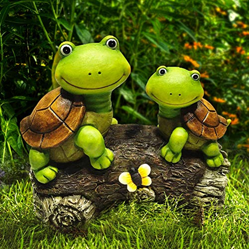LA JOLIE MUSE Garden Statue Lawn Ornaments – 9″ Frog Face Mother and Baby Turtles on a Log, Cute Resin Animal Sculpture Indoor Outdoor Art Decor, Patio Yard Decorations, Gift for Mom