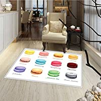 Tea Party Bath Mats for floors Colorful French Macaron Cookies with Different Flavors Delicious Sweets Cuisine Door Mats for inside Bathroom Mat Non Slip Backing 24x48 Multicolor