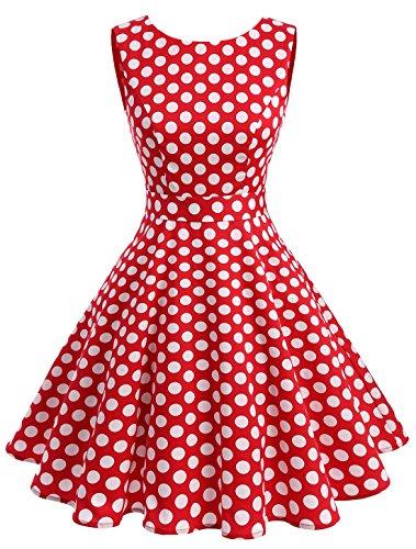Wedtrend Women's Rockabilly 1950s Audrey Dress Polka Dots Retro Cocktail Swing Dress WTP10005RedDot3XL - 1950 Outfit