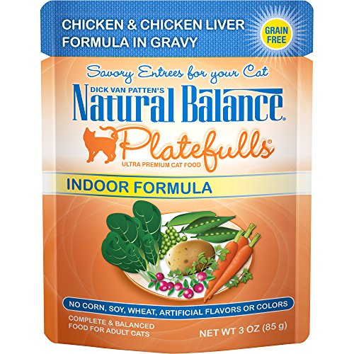 Natural Balance Platefulls Grain Free Indoor Cat Food, Indoor Chicken and Chicken Liver Formula in Gravy, 3-Ounce Pouches (Pack of 24) by Natural Balance