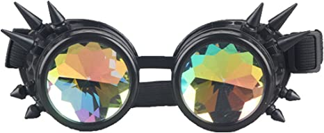 SteamPunk Cosplay Black X-Ray Goggles with Red Sparkle Lenses NEW UNUSED