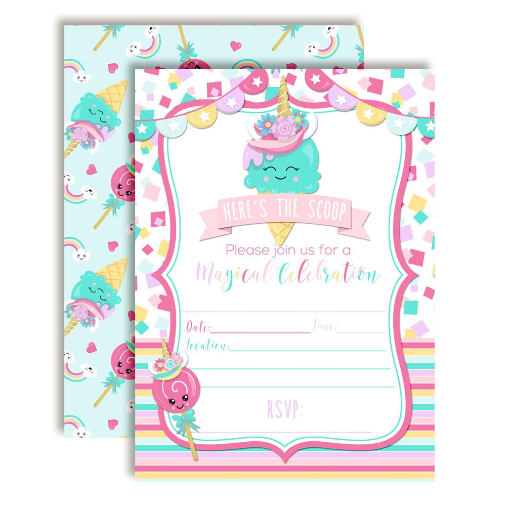 Turquoise Unicorn Ice Cream Cone Magical Birthday Party Invitations for Girls 20 5x7 Fill in Cards with Twenty White Envelopes by AmandaCreation
