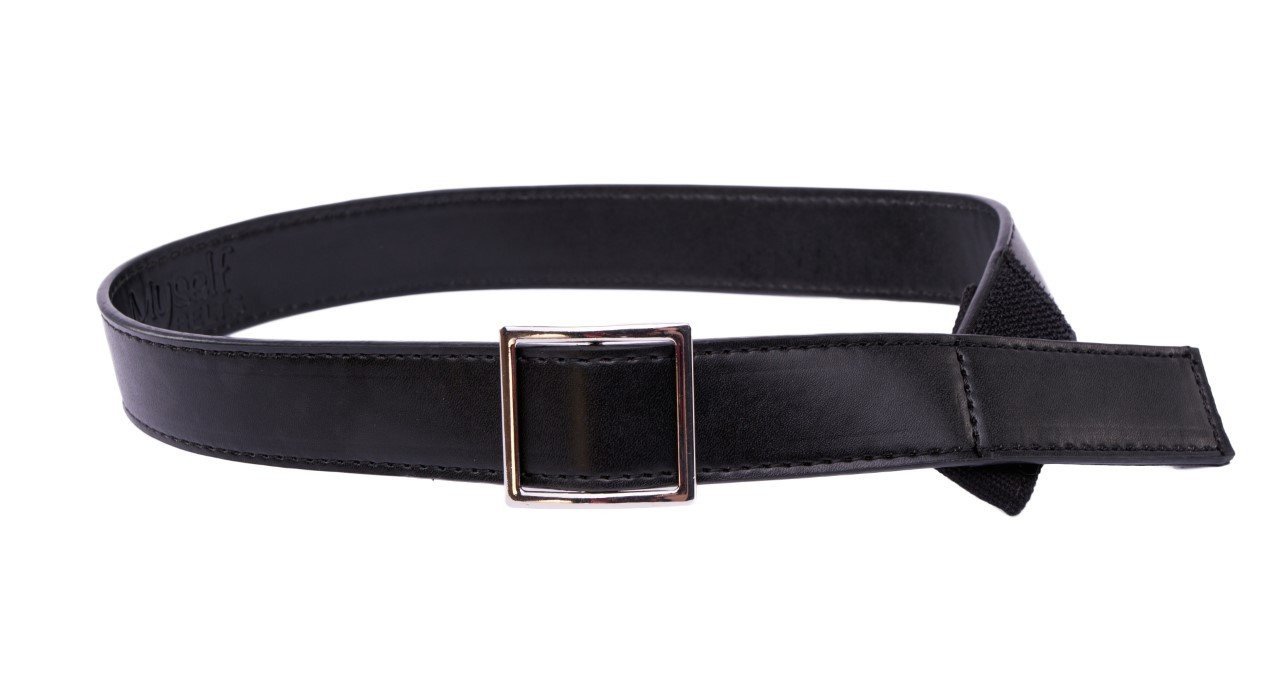 Myself Belts - Black Leather Blend Easy Belt with faux buckle for kids and toddlers (7/8)