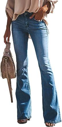 Minetom Mujer Pantalones Acampanados Vaquero Skinny Push Up Pantalones Elastico Jeans Cintura Alta Denim Mezclilla Pants Amazon Es Ropa Y Accesorios