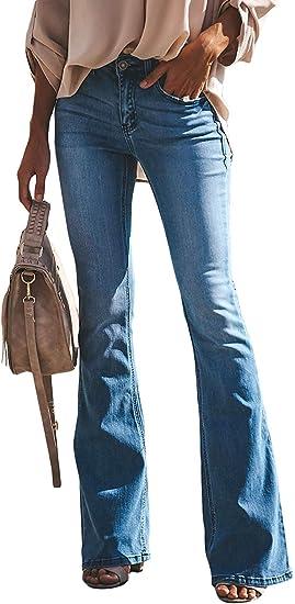 Damen Hohe Taille Gürtel Jeans Hosen Slim Bootcut Jeanshose Schlaghose Hüftjeans