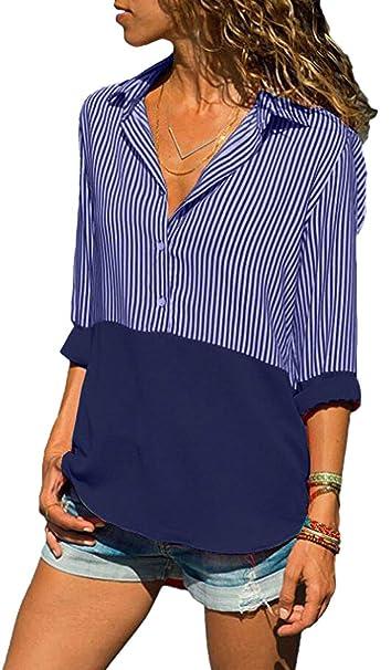 BLACKMYTH Mujer Color Sólido Stitching Manga Larga Rayas con Botones Blusa Tops Camiseta Azul Marino Small