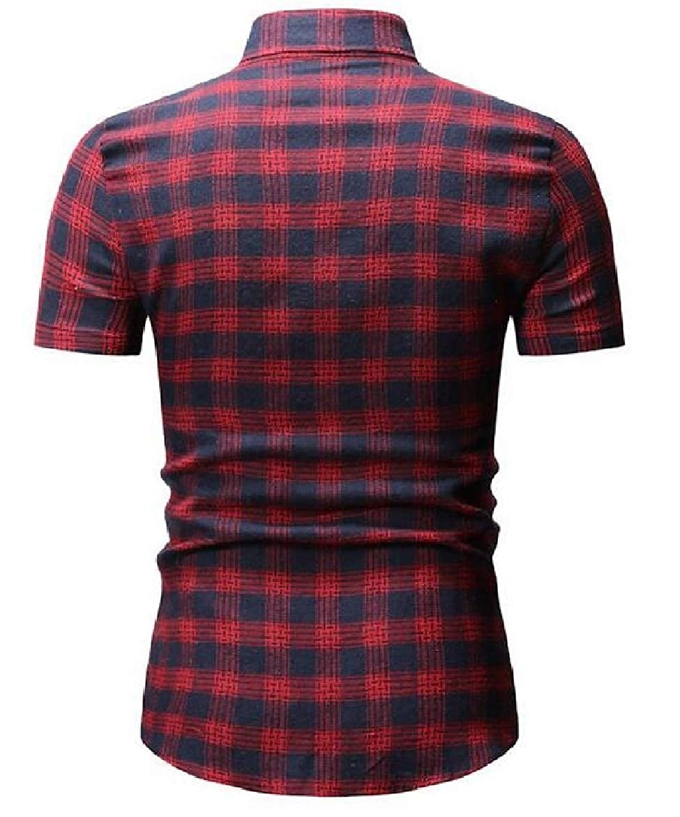 shinianlaile Mens Fashion Short Sleeve Flannel Plaid Western Dress Shirts