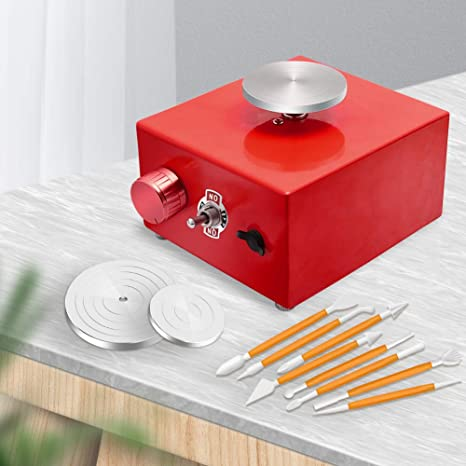 1500RPM Mini Pottery Wheel Mini Pottery Machine Electric Pottery Wheel DIY Clay Tool Clay Plastic Machine for Tray Adult Children Ceramic Art Red