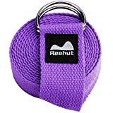 REEHUT Fitness Exercise Yoga Strap (8ft) w/Adjustable D-Ring Buckle for Stretching, Flexibility and Physical Therapy (Purple)