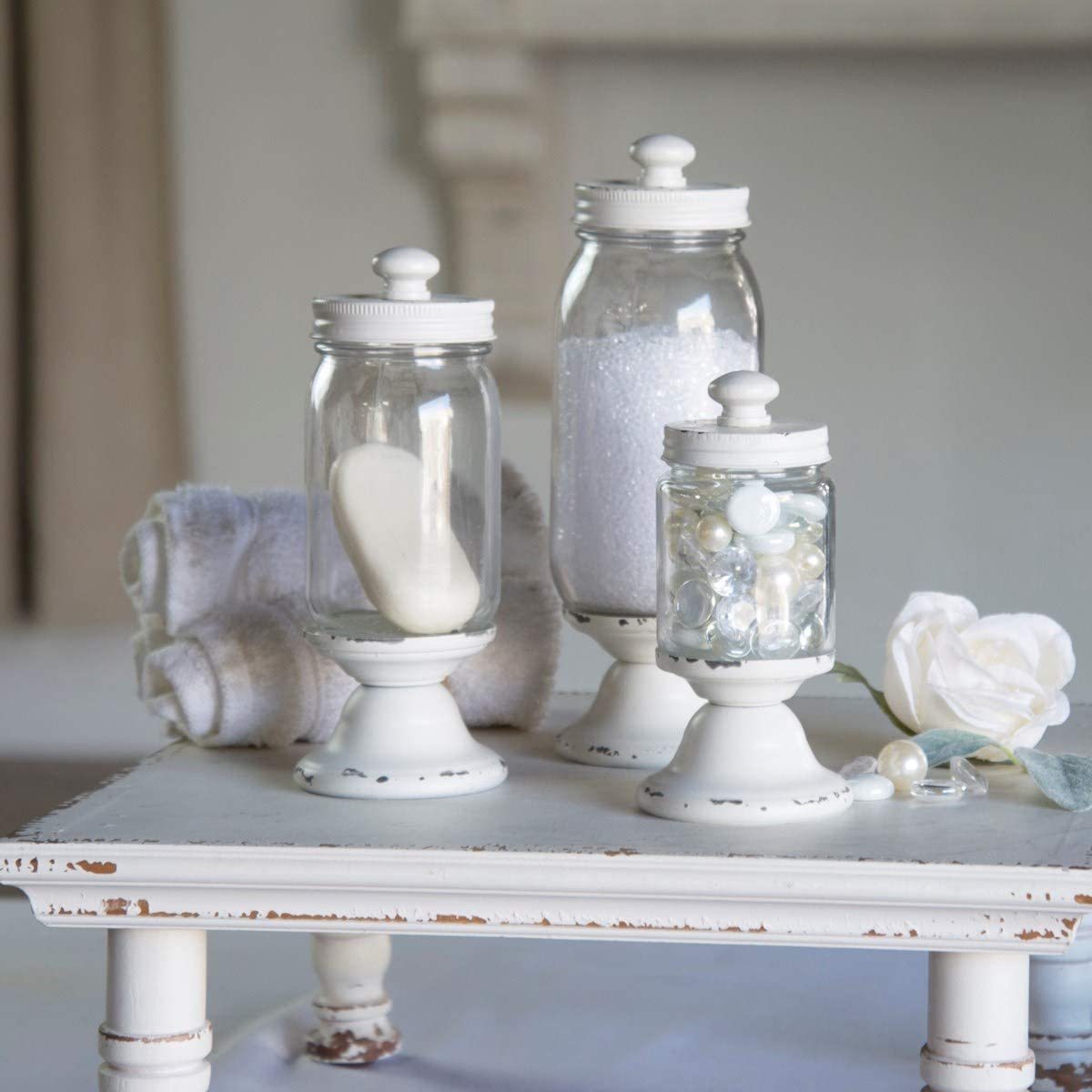 VIPSSCI Set of 12 Glass Jars with Metal Lids Antique White